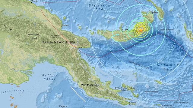 Quake  measuring 7.2 hits the coast of Papua New Guinea