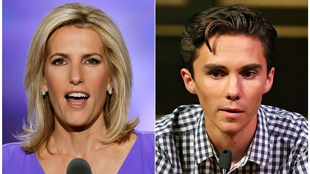 In this combination photo, Fox News personality Laura Ingraham and David Hogg, a student survivor from Marjory Stoneman Douglas High School. (AP Photo/J. Scott Applewhite, left, and Rich Schultz)