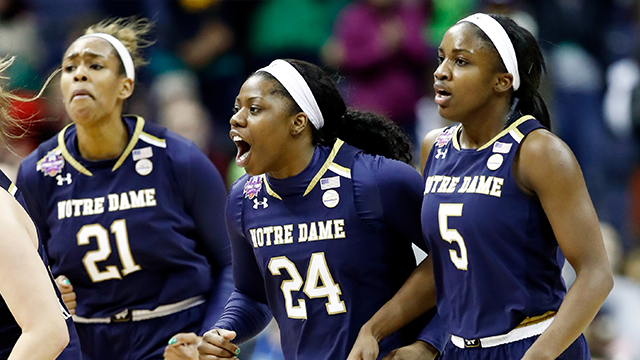 (Photo by Andy Lyons/Getty Images)  Kristina Nelson #21, Arike Ogunbowale #24 and Jackie Young #5 of the Notre Dame Fighting Irish celebrate their comeback during the third quarter against the Mississippi State Lady Bulldogs in the championship game...