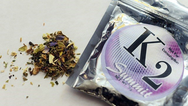 This Feb. 15, 2010, photo shows a package of K2 which contains herbs and spices sprayed with a synthetic compound chemically similar to THC, the psychoactive ingredient in marijuana. (AP Photo/Kelley McCall)
