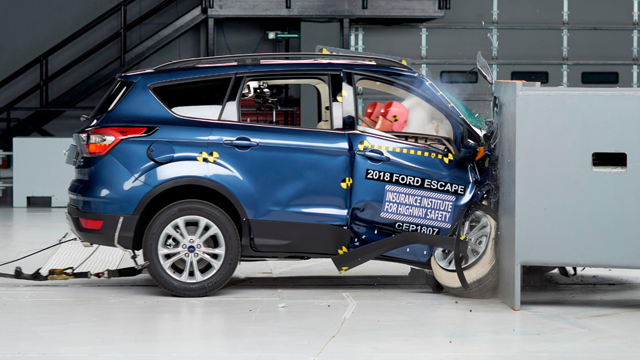 "The Ford Escape SUV earned a ""poor"" rating in a crash test designed to show how well front-seat passengers are protected in a violent collision. (IIHS via CNN Wire)"