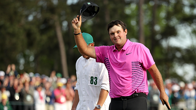 Patrick Reed of the United States acknowledges the crowd after making par 18th green during the final round to win the 2018 Masters Tournament at Augusta National Golf Club on April 8, 2018 in Augusta, Georgia. (Photo by Patrick Smith/Getty Images)