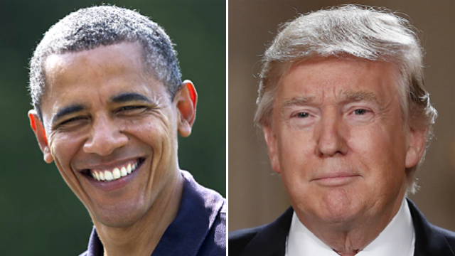 This side-by-side image shows Barack Obama and Donald J. Trump. (AP Photo/Meredith)