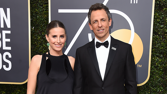 Alexi Ashe, left, and Seth Meyers arrive at the 75th annual Golden Globe Awards at the Beverly Hilton Hotel on Sunday, Jan. 7, 2018, in Beverly Hills, Calif. (Photo by Jordan Strauss/Invision/AP)