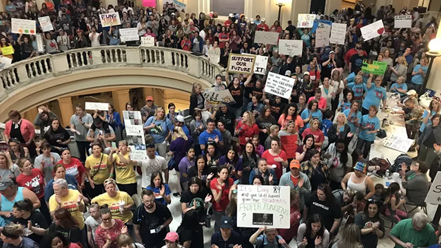 Teachers gathered at the Oklahoma Capitol for the ninth day of protests. (CNN)