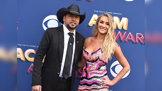 Jason Aldean left and Brittany Kerr arrive at the 53rd annual Academy of Country Music Awards at the MGM Grand Garden Arena on Sunday