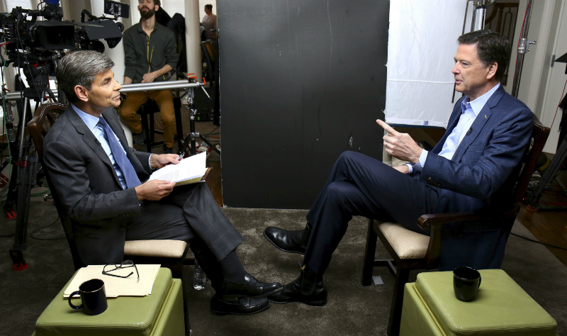 "In this image released by ABC News, former FBI director James Comey appears at an interview with George Stephanopoulos that aired during a primetime ""20/20"" special on Sunday, April 15, 2018. (Ralph Alswang/ABC via AP)"
