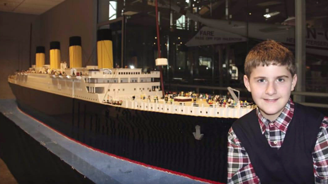 Brynjar Karl Bigisson, now 15, built the world's largest Lego Titanic replica with 56,000 Lego bricks. (Credit: Titanic Pigeon Forge)
