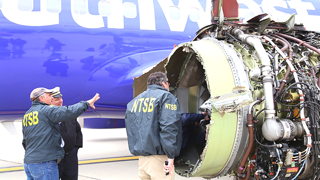 The National Transportation Safety Board is onsite inspecting a Southwest airline plane after engine failure caused the plane to make an emergency landing at Philadelphia International Airport. (@NTSB_Newsroom/Twitter)