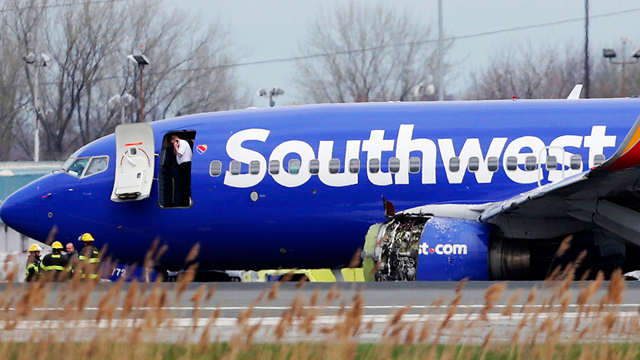 A Southwest Airlines plane flying from New York to Dallas had to make an emergency landing Tuesday morning in Philadelphia. (AP via CNN)