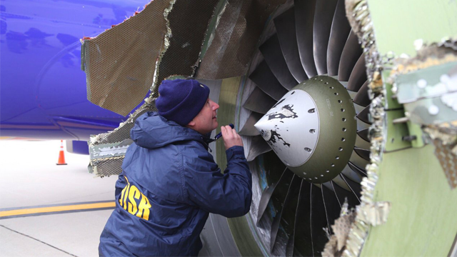 The National Transportation Safety Board is onsite inspecting a Southwest airline plane after engine failure caused the plane to make an emergency landing. (@NTSB_Newsroom/Twitter via CNN)