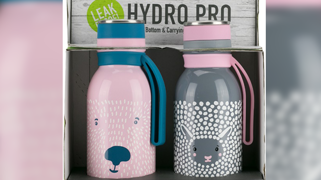 Base Brands is recalling about 2,000 water bottles due to excessive lead paint. The pink bottle on the left is the one being recalled. (U.S. Consumer Protection Safety Commission)