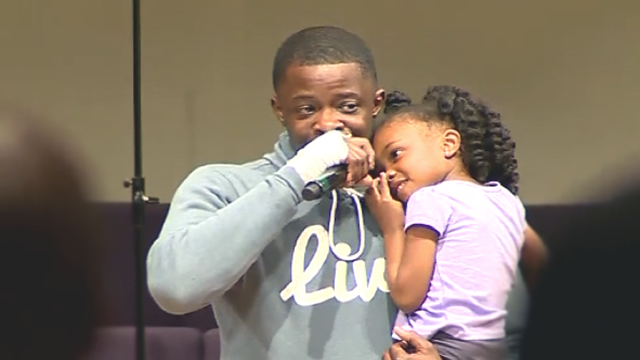 James Shaw Jr. speaks during a vigil at Mt. Zion Baptist church in Antioch for the victims of the Waffle House shooting. (WSMV)
