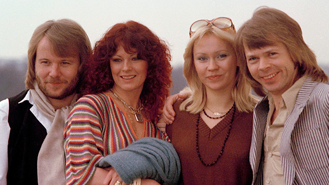 """Members of the Swedish pop group pose together in London, where they will be attending the premiere of their first movie """"ABBA - The Movie,"""" Feb. 16, 1978. (AP Photo)"""