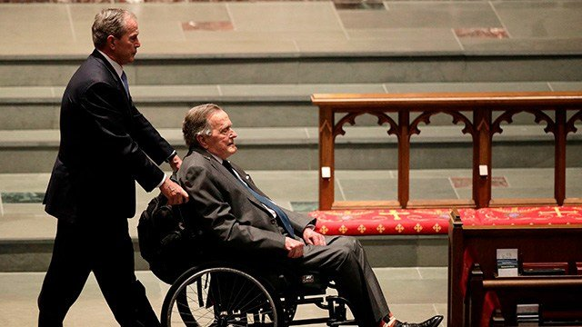 In this April 21, 2018, file photo, former presidents George W. Bush, left, and George H.W. Bush arrive at St. Martin's Episcopal Church for a funeral service for former first lady Barbara Bush in Houston. (AP Photo/David J. Phillip, File)