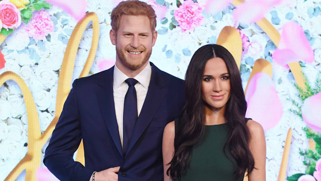 Madame Tussauds has unveiled its new Meghan Markle statue in London alongside an updated Prince Harry. (Getty Images via CNN)