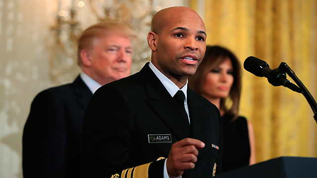 In this Feb. 13, 2018, file photo, Surgeon General Jerome Adams speaks during a National African American History Month reception hosted by President Donald Trump and first lady Melania Trump in the East Room of the White House in Washington.  (AP Photo)