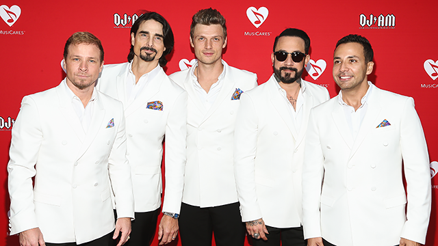 From left to right: Brian Littrell, Kevin Richardson, Nick Carter, A.J. McLean and Howie Dorough (Photo by John Salangsang/Invision/AP)
