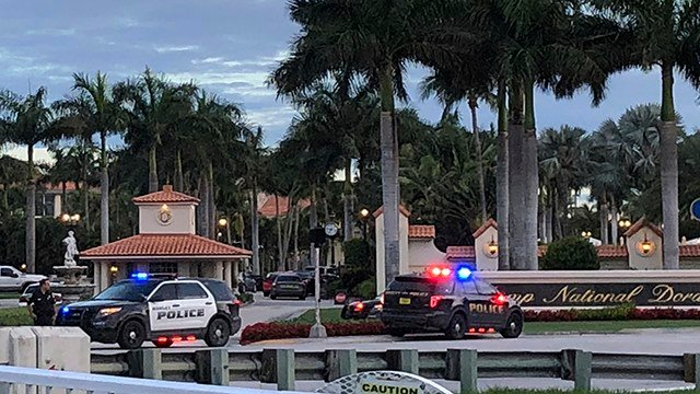 Police respond to The Trump National Doral resort after reports of a shooting inside the resort Friday, May 18, 2018 in Doral, Fla. (AP Photo/Frieda Frisaro)