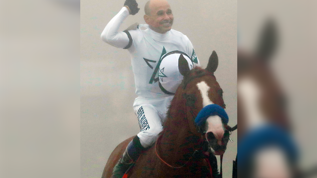 Justify with Mike Smith atop celebrates after winning the 143rd Preakness Stakes horse race at Pimlico race course, Saturday, May 19, 2018, in Baltimore. (AP Photo/Patrick Semansky)