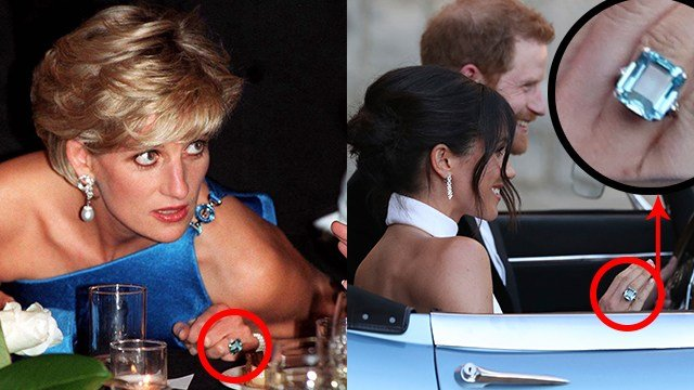 Meghan Markle is seen wearing Princess Diana's ring while heading to her wedding reception May 19 after marrying Prince Harry. (AP Images/Meredith)