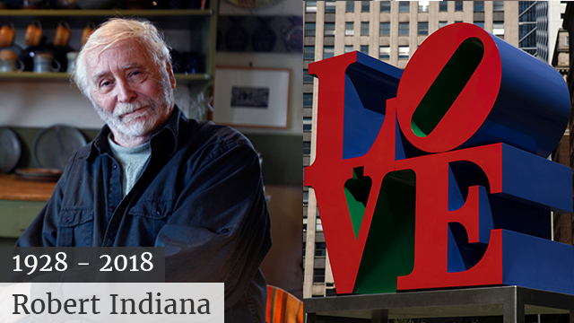Robert Indiana, best known for his 1960s LOVE series, died from respiratory failure Saturday, May 19, 2018, at his home in Maine, Indiana's attorney said. He was 89. (AP Photo/Pat Wellenbach, File)