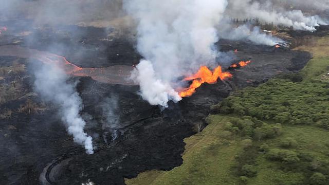 Aerial views show Hawaii volcano lava flows