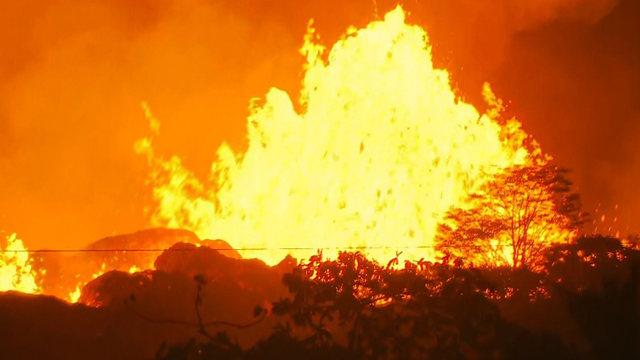 Man defending Hawaii home from volcano is hit by flaming 'lava bomb'