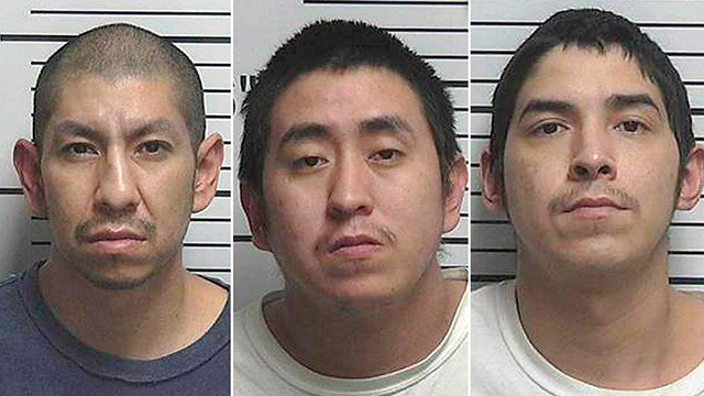 This combination of file photos released by the Uintah County Sheriff's Office shows Larson RonDeau, from left, Randall Flatlip and Jerry Flatlip.