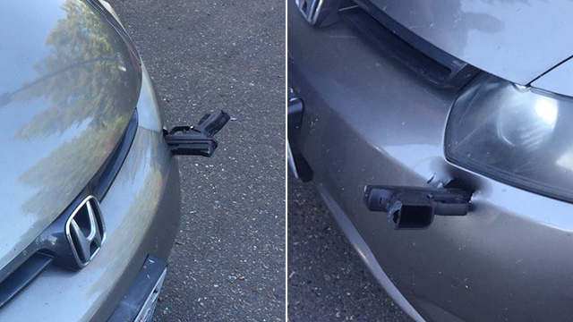 Surprised driver finds handgun sticking out of bumper