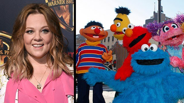 (R) Characters from Sesame Street Live celebrate the 30th anniversary of the live touring stage shows Feb. 4, 2010. (AP Photo/Kathy Willens); (L) Melissa McCarthy arrives at CinemaCon 2018 in Las Vegas. (Chris Pizzello/Invision/AP)
