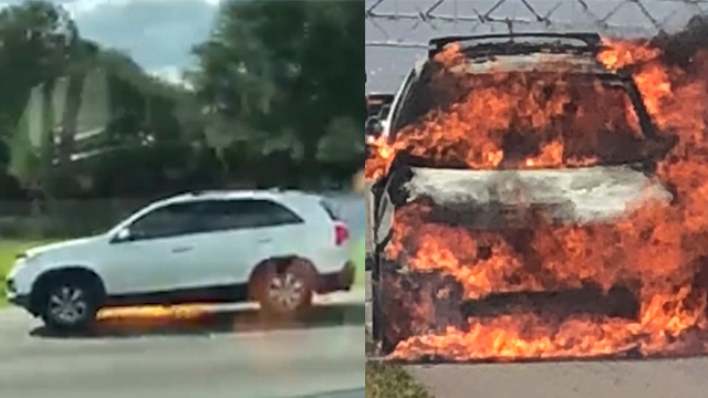 Caught on tape: Woman seen driving while car on fire