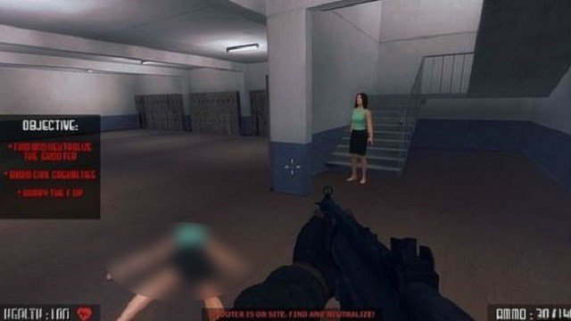 "A screen capture of the video game ""Active Shooter"" that has caused outrage. (Steam)"