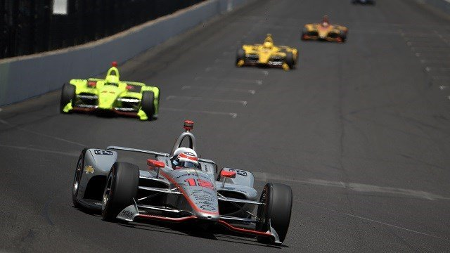 Will Power of Australia, driver of the #12 Verizon Team Penske Chevrolet leads a pack of cars during the 102nd Running of the Indianapolis 500 at Indianapolis Motorspeedway on May 27, 2018 in Indianapolis, Indiana. (Chris Graythen/Getty Images)
