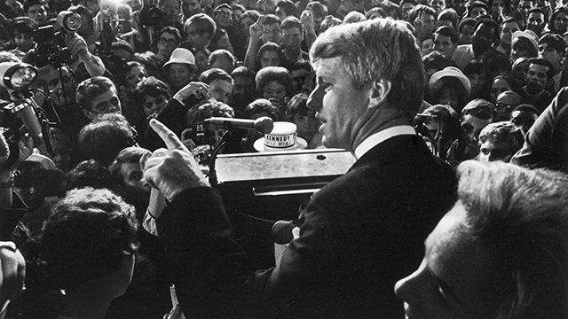 Senator Robert Kennedy & wife Ethel standing at podium, addressing his constituents & the press at the Ambassador Hotel after his CA primary election victory and just prior to his assassination. (Photo by Bill Eppridge/The LIFE Picture Collection/Getty)