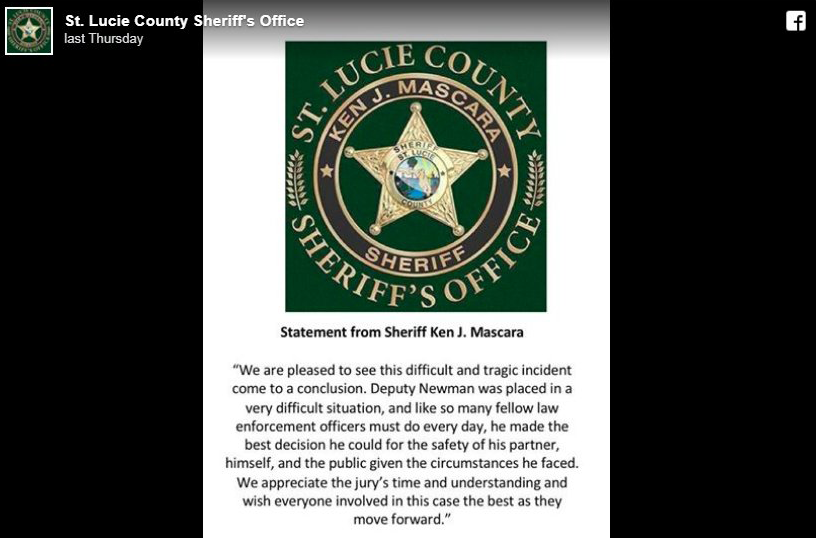 Sheriff Ken Mascara issued this statement after today's verdict in the civil rights lawsuit regarding the 2014 officer involved shooting death of Gregory Hill.