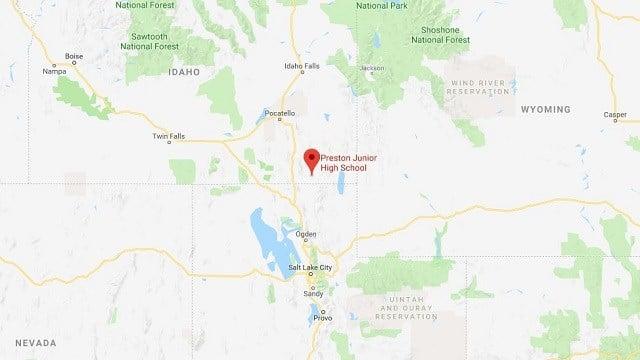 This map shows the location of Preston Junior High School in Preston, Idaho. (Google Maps)