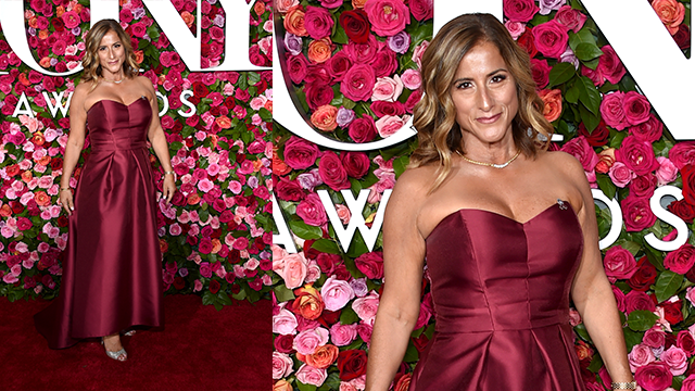 Melody Herzfeld, drama teacher from Marjory Stoneman Douglas High School, arrives at the 72nd annual Tony Awards at Radio City Music Hall on Sunday, June 10, 2018, in New York.  (Photo by Evan Agostini/Invision/AP)