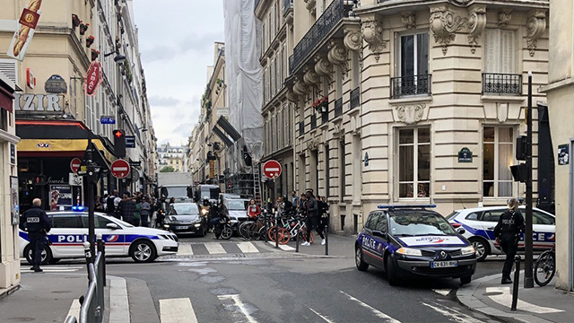 "The Paris Police Prefecture confirmed to CNN that there was ""a police intervention"" underway at Rue des Petites Ecuries in the 10th arrondissement of the French capital. Law enforcement officials cordoned off the area. (Frederic Amico/Twitter via CNN)"