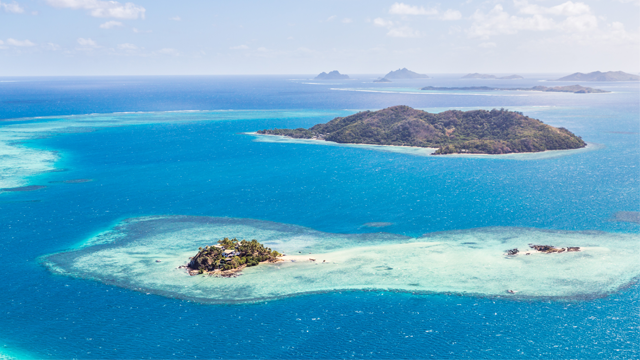 Aerial view of Wadigi and Malolo islands, Malolo reef, Mamanucas islands, Fiji. (Getty Images)