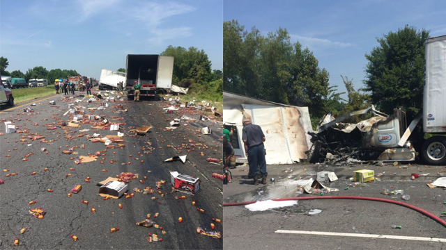 Fireball whisky covers I-40 after crash involving two 18-wheelers