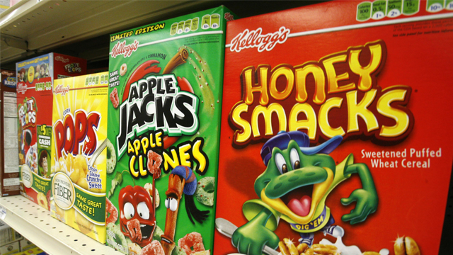 Boxes of Kellogg's Froot Loops, Corn Pops, Apple Jacks, and Honey Smacks sit on the shelf of a Mt. Lebanon, Pa., grocery store Friday, June 25, 2010. (AP Photo/Gene J. Puskar)