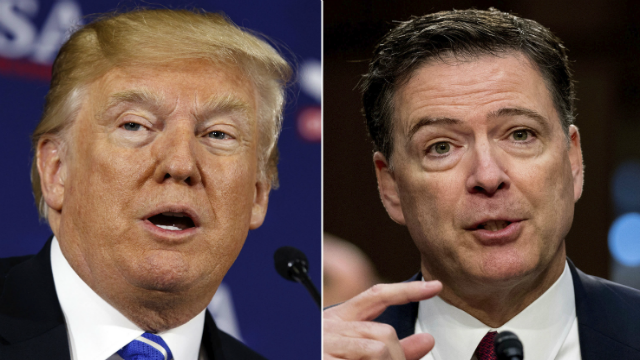 This combination photo shows President Donald Trump former FBI director James Comey. (AP Photo)