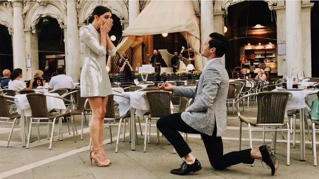 """""""Dancing With The Stars"""" pro Val Chmerkovskiy proposes to Jenna Johnson, who is also a professional dancer on the hit show. (Jenna Johnson via Instagram)"""
