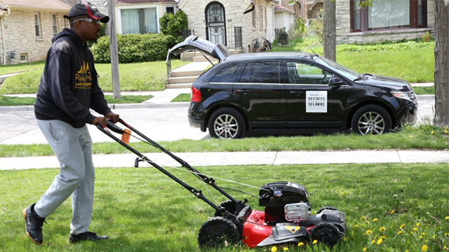 Rodney Smith Jr. found his purpose the day he came across an elderly man struggling to mow his lawn, and pulled over to help. (Rodney Smith Jr. via CNN)