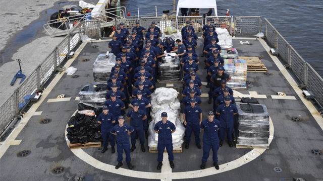 The crew of the Coast Guard Cutter Campbell was responsible for the interdiction of six of the seven cases, seizing an estimated 12,000 pounds while on patrol. (U.S. Coast Guard via Defense Visual Information Distribution Service)