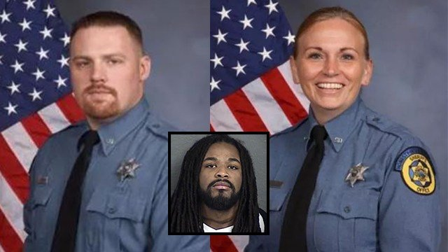 Deputies Patrick Rohrer (left) and Theresa King (right) were shot and killed Friday by an inmate in the parking lot of a courthouse in Kansas City. The suspected gunman is Antoine Fielder (center). (KCTV/Meredith)