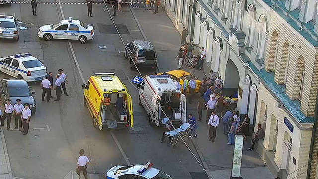 In this image provided by Moscow Traffic Control Center Press Service, ambulance and police work at the site of an incident after a taxi crashed into pedestrians on a sidewalk near Red Square in Moscow, Russia, Saturday, June 16, 2018. (AP)