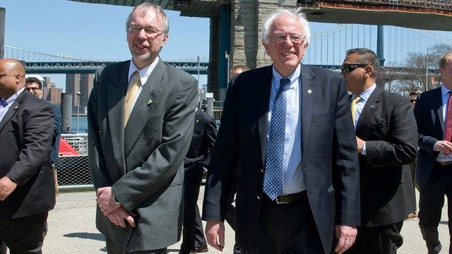 In this April 17, 2016 file photo, Democratic presidential candidate Bernie Sanders, I-Vt., and his son Levi Sanders, left, take a walk in Brooklyn Bridge park in the Brooklyn borough of New York. (AP Photo/Mary Altaffer, File)