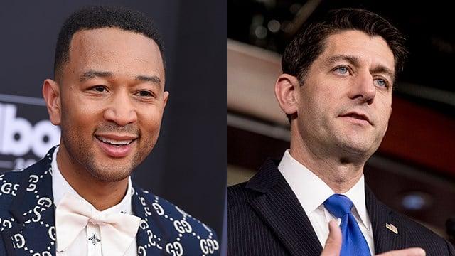 Singer John Legend (left) and Speaker of the House Paul Ryan (right). (AP Images)